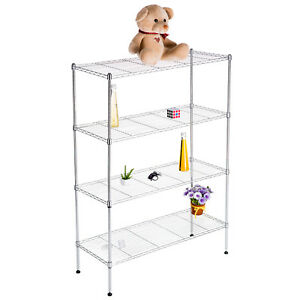 55 x36 x14 Adjustable 4 Tier Wire Shelving Rack Heavy Duty Chrome Steel Shelf