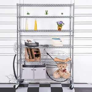 Adjustable 6 Tier Wire Shelving Rack 82 x46 x18 Heavy Layer Duty Steel Shelf