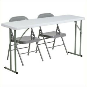 Flash Furniture Folding Table And 2 Folding Chairs In Gray And White