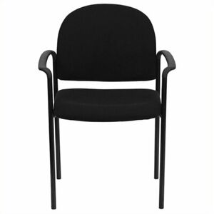 Scranton Co Stackable Side Guest Chair In Black With Arms