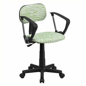 Scranton Co Zebra Print Office Chair In Green And White