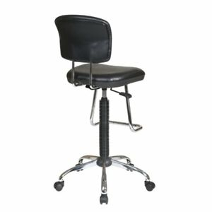Scranton Co Faux Leather Drafting Chair With Footrest In Black