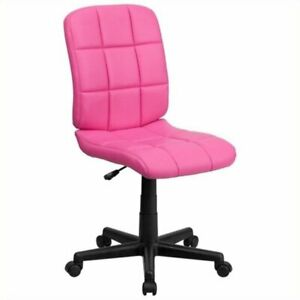 Scranton Co Faux Leather Mid back Office Chair In Pink