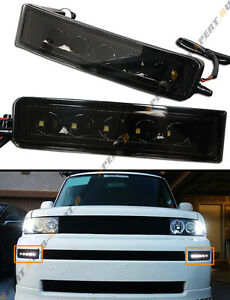 For 2003 07 Scion Xb Blk Out Smoked Led Day Time Running Bumper Fog Light Lamps