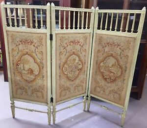 Antique Italian Dressing Screen Room Divider W Petit Point Tapestry