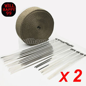 2 Rolls Lava Fiber 2 50ft Exhaust Header Pipe Heat Wrap Tape With 46 Ties Kit