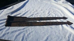 Large Heavy Vintage Hand Made Set Of 2 Barn Door Strap Hinges 684