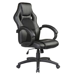 Executive Swivel Office Chair Race Car Style Bucket Seat High Back Black Modern