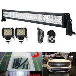 180w 32inch Led Light Bar 2x 4 Cree Pods Bumper Offroad Toyota Tacoma Chevy