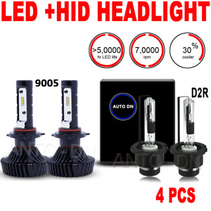 4pcs Led High Beam Low Beam Headlight Bulb Combo 9005 D2r I White 6500k