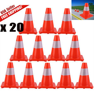 Lot 20 12 18 28 Reflective Wide Body Safety Cones Construction Traffic Cone