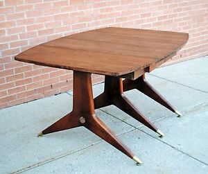 Mid Century Modern Walnut And Brass Dining Table Gio Ponti Style