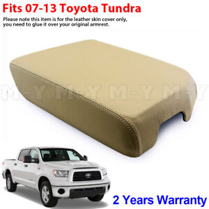 Fit 07 13 Toyota Tundra Bucket Seat Leather Armrest Console Lid Cover Sand Beige