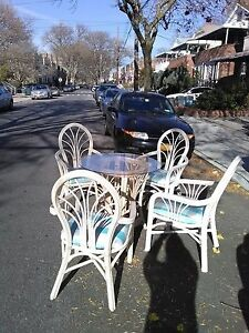 Vintage Rattan Dining Set 4 Unique Chairs Brand New Upholstery