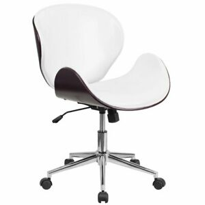 Flash Furniture Leather Swivel Office Chair In White And Mahogany