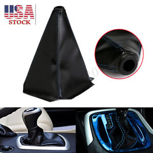 Universal Auto Car Shift Boot Cover Blue Stitch Black Pvc Leather Manual Shifter