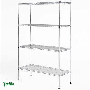 Adjustable 4 Tier Wire Shelving Rack 55 x36 x14 Heavy Duty Steel Shelf Chrome