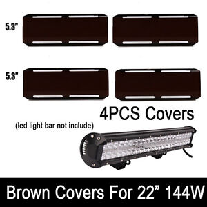 4x Snap On Brown Black Lens 36w Cover For 22 Inch Cree 144w Led Work Light Bar