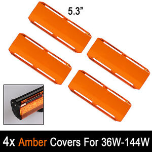 4 Snap On Amber Lens Cover For Cree 7 36w 12 72w 22 144w Led Work Light Bars