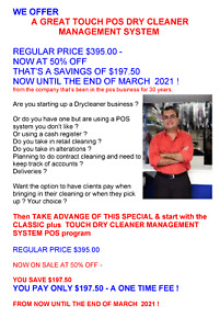 Touch Dry Cleaner Management System Point Of Sale Program 50 Off