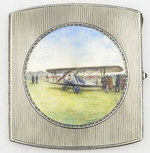 Antique Hand Painted Enamel Sterling Silver Biplane Cigarette Case Box