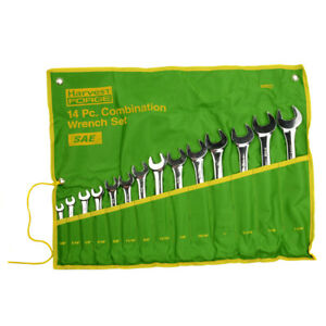 14pc Piece Sae Standard Combination Wrench Set W Roll up Pouch 3 8 To 1 1 4