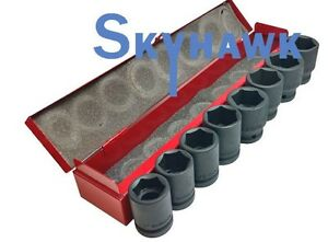 8 Pc 3 4 Drive Sae Air Impact Chrome Vanadium Steel Socket Set W Case