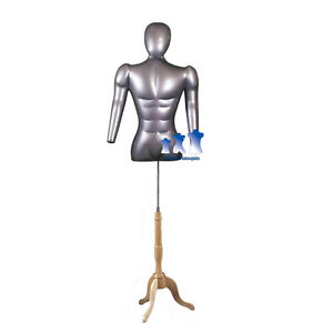 Inflatable Male Torso W Head Arms With Ms7n Stand Silver