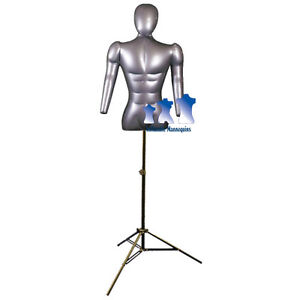 Inflatable Male Torso W Head Arms With Ms12 Stand Silver