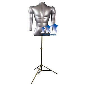 Inflatable Male Torso With Arms With Ms12 Stand Silver