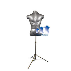 Inflatable Male Torso With Ms12 Stand Silver