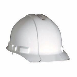 3m Hard Hat Non vented Adjustable 4 point Ratchet Padded Sweatband White 6 pc