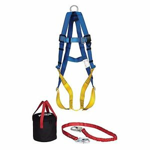 3m Aerial Work Lift Fall Protection Ppe Safety Lanyad Belt Body Harness Kit Set