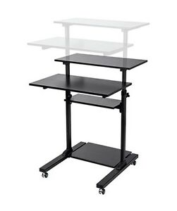 Sit Stand Adjustable Workstation Desk Mobile Cart For Pc Monitor Keyboard Laptop