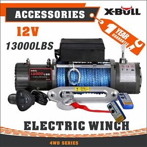 X Bull 13000lbs 12v Electric Recovery Winch Truck Suv Durable Remote Control 4wd