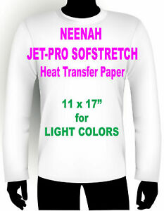 Jet Pro Sofstretch Inkjet Heat Iron On Transfer Paper 11 X 17 50 Sheets