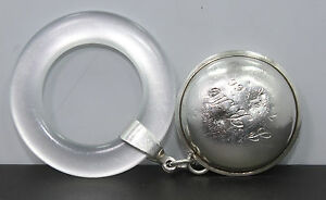Lunt Sterling Silver Teething Ring Baby Rattle