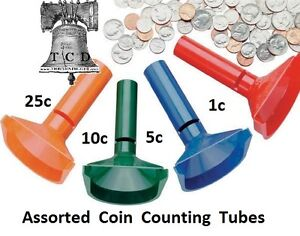 Fast Wrap Coin Counting Tubes Assorted Change Sorter Counter Mmf Wrapper 1c 25c