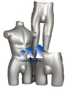 Inflatable Mannequin Male Brief Short Swimsuit Collection Silver