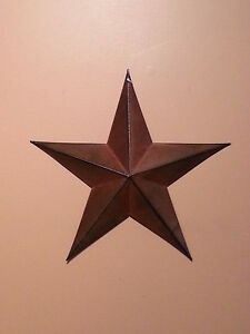 12 Rusty Barn Star 5 Point New Primitive Metal Country Rust Stars
