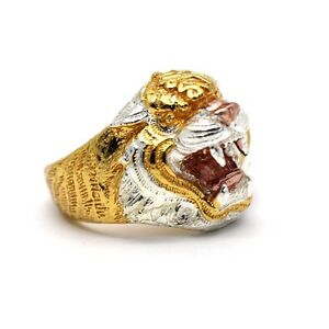 Lp Pern Yant Talisman Tiger Ring Size 22 Luck Protection Authentic Thai Amulet