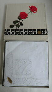 Set Of 8 New Vintage White Linen Doerig Appenzell Hankies Monogrammed U