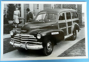 12 By 18 Black White Picture 1947 Chevrolet Fleetmaster Station Wagon