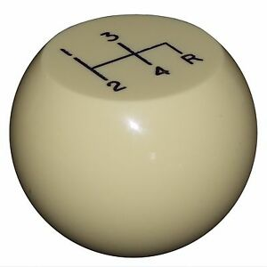 Vintage Flat Top Ivory 4 Speed Shift Knob Reverse Down Right 3 8 16 Thread