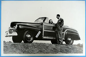 12 By 18 Black White Picture 1946 Ford Sportsman Convertible Top Down
