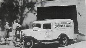 12 By 18 Black White Picture 1932 Ford Sedan Delivery Truck Biscuit Co