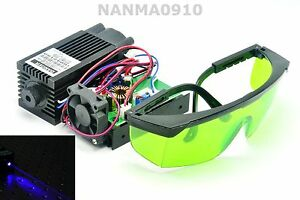 Powerful 2w 445nm 450nm Blue Laser Diode Module 2000mw Engraver W 405nm Goggles