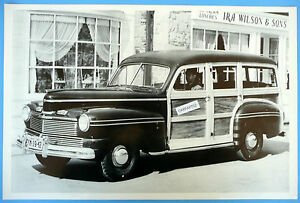 12 By 18 Black White Picture 1942 Mercury Woody Station Wagon