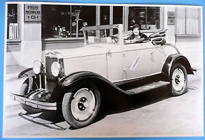 12 By 18 Black White Picture About 1929 Chevrolet Cabriolet Top Down