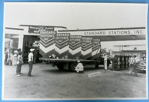 12 By 18 Black White Picture Truck Loaded With Standard Stations Signs